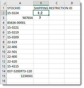 Shipping Restriction Data Example-1